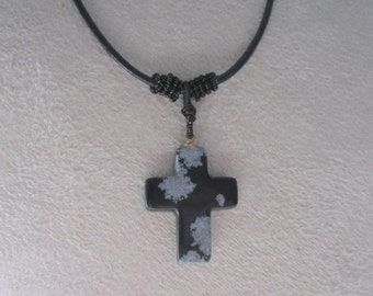 Cross Necklace Men's Snowflake Obsidian Gemstone Necklace Leather Jewelry