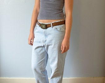 Vintage 80's distressed denim jeans, boyfriend jeans, boyfriend style jeans, light denim, size 38 x 30