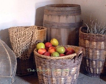 Apples, Rustic Baskets , Harvest, Matted 5x7 Photograph, Original Art, Wall Art, Rustic Art