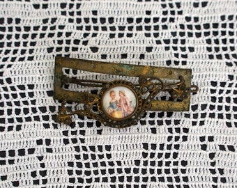 Antique French 1800s enamel and paste crystal jewellery hair clasp handpainted portrait wedding jewelry supplies chateau chic Photo Prop