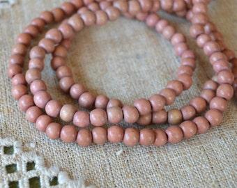 100pcs 8mm Mauve Wood Natural Beads Round Macrame Bead
