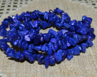Chips Lapis Blue Howlite Natural Gemstone Beads 36 Inches