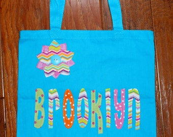 Girls Personalized Tote with flower applique - kids book bag girls library school custom birthday gift idea wedding flower girl beach purse