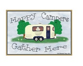 "Happy Campers Gather Here Pull Camper Camping 3.5"" X 2.5"" Fridge Refrigerator Magnet"