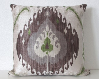 Samarkand Sapling brown green gray velvet ikat decorative pillow cover