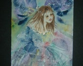 glitter fairy aceo art painting ref 244