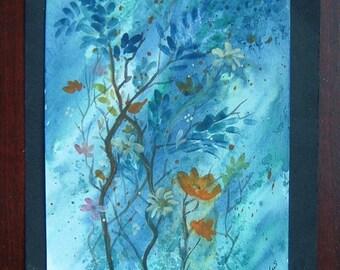 7x5 watercolour floral fantasy art ref 300