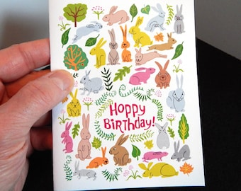 Birthday Card Funny Rabbits Spring Colors