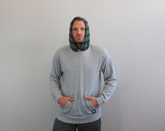 Vintage 90s Grunge Plaid and Gray Hoodie by Quicksilver