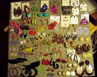 Vintage Lot 60 Pairs Pierced Earrings 2 Pairs Screw Back & 12 Pairs Clip Earrings 8670