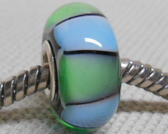 Black with Blue and Green Triangles Handmade Lampwork Bead Silver Cored Glass Bead Large Hole BHB