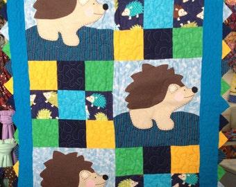 Hedgehog Quilt Throw Blanket