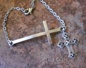 Sideways Cross Bracelet, Silver Cross Bracelet, Crucifix Bracelet, Cross Jewelry,