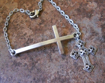 Sideways Cross Bracelet, Silver Cross Bracelet, Crucifix Bracelet, Cross Jewelry,