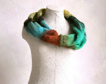 Spring Pine - soft kid mohair silk infinity scarf wrap cowl snood can work as a set with gloves purchased separately