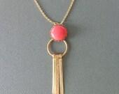 Fan tassel modern gold necklace with orange