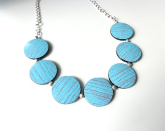 Turquoise chunky necklace, black turquoise woodgrain necklace