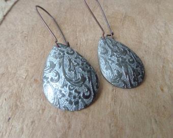 Silver brass flower boho drop earrings, brass drop earrings, dangle earrings