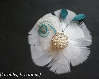 Wedding White and Peacock Teal Green Feather Flower Fascinator Bridal Hairpiece JORDAN Champagne Ivory Herl Gorgeous Pearl Rhinestone Center