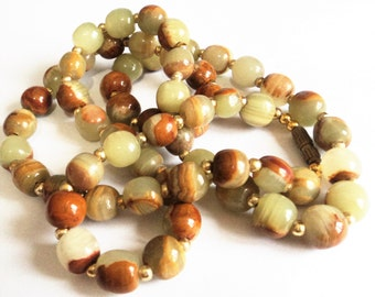 Banded Calcite Onyx Necklace... Green Brown Natural Stone... c.1960s Vintage