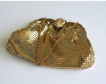 40% OFF SALE Vintage 1950s WHITING & Davis Party Purse / High Class Gold Mesh Wedding Purse / Formal Evening Prom Party Purse / Rhinestones