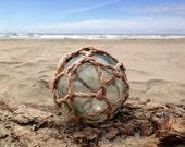 Japanese Glass Fishing Float - Baseball Size, Original Net