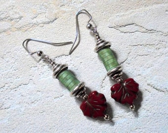 Sage Green and Maroon Maple Leaf Earrings (3079)