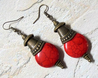Red and Brass Boho Earrings (3111)