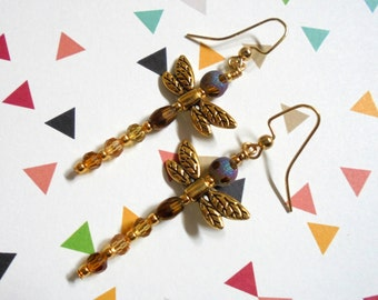 Gold Dragonfly Earrings (2722)