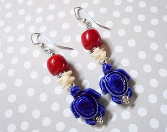 Red, White and Blue Turtle and Coral Earrings  (2716)