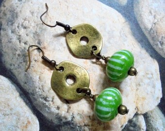 Green and White Striped Tribal Earrings (2727)