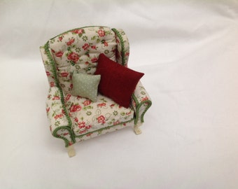 DOlls House Ministure - Cream Floral Armchair - NEW SUMMER 2016