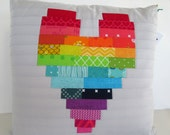 HE.art by CC Rainbow Heart Pillow Cover in Silver Gray (Pillow Cover Only)