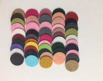 Wool Felt Circles 50 - 3/4 inch Random Colored 3479 - felted circle - circle die cut - headband supplies