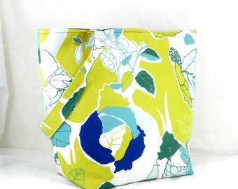Large Tote, Yellow Ikea Fabric, Yellow and Blue, Retro Graphic Print, Yellow Library Bag, Fall Accessory, Canvas Tote, Handmade Tote