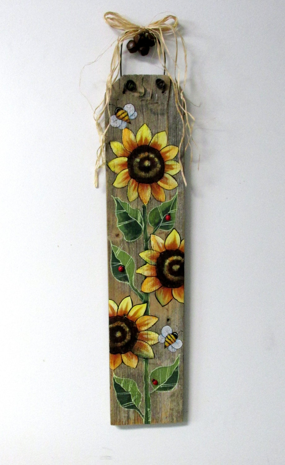 Sunflowers Yellow And Bumble Bees Hand Or Tole Painted On