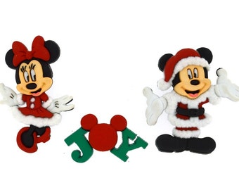 Disney Christmas Buttons Mickey Minnie Mouse Joy Licensed Character Novelty Shank Button Set Sewing Crafts