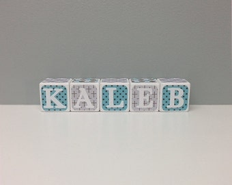 Boys Baptism Name Blocks, Baby Name Blocks, Blue and Taupe Word Blocks
