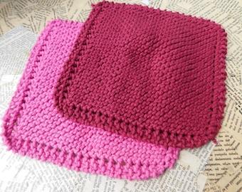 Cotton Knit Dishcloths   Set of Two, Pink and Burgundy Solid   Dishcloths   Vegan    Washcloths   Ecofriendly   Reusable   Natural