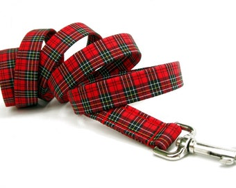 Red and Black Plaid Dog Leash - Wallace Plaid