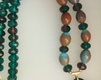 Enamel and Beaded Necklace: Autumn Skies