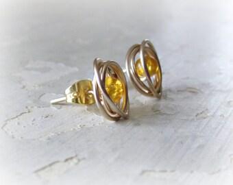 Gold Stud Earrings, Amber Posts, Glass Stud Earrings, Wire Wrap Earrings, Amber Studs, Small Stud Earrings, Gold Post Earrings, Glass Beads