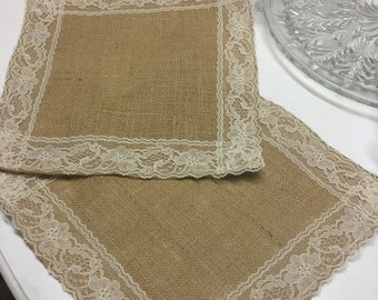 Burlap Table Squares With Lace-Select Your Size and Amount Needed-White or Ivory Lace-Romantic Rustic Gathering