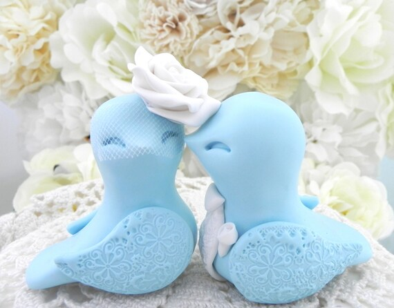 Wedding Cake Topper - Love Birds - White and Light Blue - Bride and Groom Keepsake - Fully Customizable