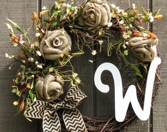 Door Wreath, Rose and Golden Vine Monogram Wreath, Initial, Monogram, Year Round Wreath