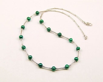 Teal Freshwater Pearl Sterling Silver Necklace - N837