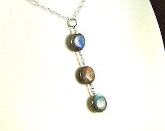 Labradorite Triple Coin Sterling Necklace - N544