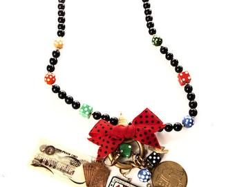 Katrina Necklace Whimsical Beads Gambling Bow Dice Money Cards Vintage Jewelry Artedellamoda Talkingfashion Talkingfashionnet