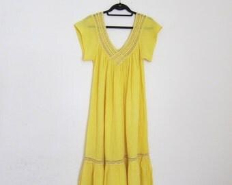 Vintage Greek Cotton Gauze Sheer Sunshine Yellow Deep V Maxi Dress OSFM