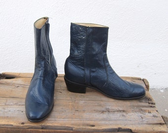 70s Navy Ankle Chelsea Beetle Boots Ladies Size 8